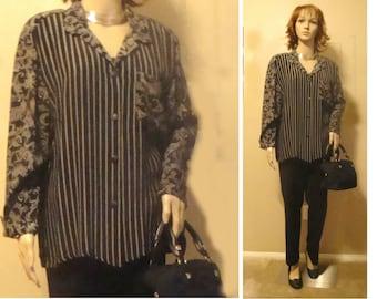 Carole Little Saint Tropez West Vintage Jacket, Size 10 Vintage Black and White Print Shirt Jacket, Carole Little Rayon Shirt Blouse Jacket