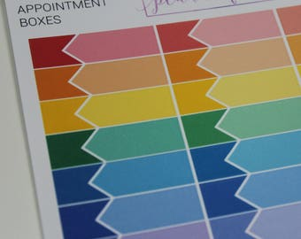 Appointment Boxes | Multicolour Rainbow Functional Stickers for Erin Condren (M025)