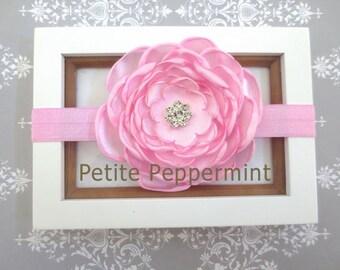 Baby headband, baby girl headband, newborn headband, toddler headband - Pink Baby Flower Headband