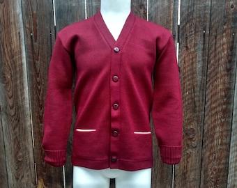 Vintage 50's Kandel Men's Wool Cardigan Sweater Letterman's Burgundy NOS S M
