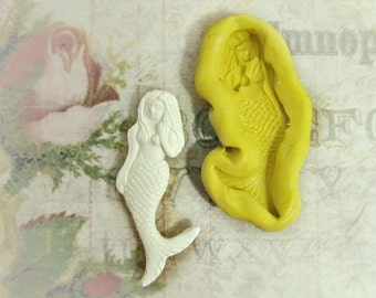 mermaid mold,flexible Silicone mold,push mold, food supplies mold, clay supplies molds, # 30s