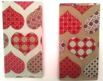 Set of 2 tissue paper - hearts