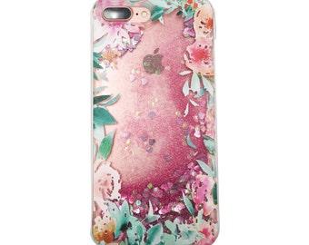iPhone Soft Liquid Glitter Phone Case Floral Garden
