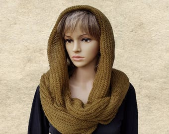 Knitted cowl scarf, Winter women's wrap, Scarf for winter, Knit infinity scarf, Warm scarf women, Women's terndy scarf, Winter circle scarf