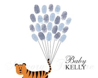 Baby Shower Guest Book Alternative Tiger Baby Shower Tiger Thumbprint Guestbook Tiger Fingerprint Guestbook Tiger Baby Shower Thumbprint