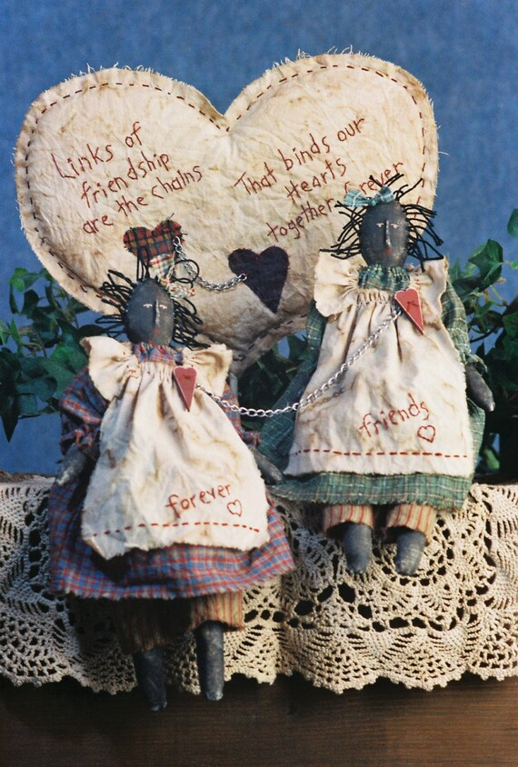 Chained Hearts - Cloth Doll E-Pattern - Primitive Friendship Doll epattern
