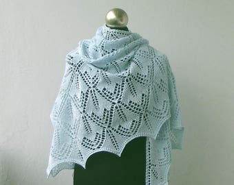 Light Blue  hand knitted lace shawl, cotton summer  shawl.