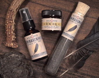 Bath Gift Set RAVEN + RENEWAL Unisex Spa Gift for Him Cologne Spray Bath Salts Healing Salve