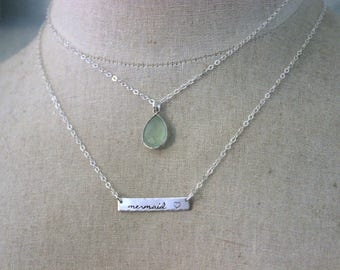 Set of 2 necklaces - Lime green chalcedony & skinny mermaid bar - Layering Jewelry  925 Sterling silver - Beach jewelry pale green