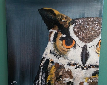 Baby Brown Owl - Acrylic Painting Holiday SALE PRICE!
