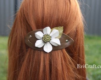 White daffodil hair clip, Large khaki colour Leather french hair barrette with white flower, Ponytail Holder, green leather accessory