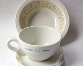 Restaurant Ware Cup Bowl Square Saucer Syracuse Walker China Teal Gold Retro Diner Restaurantware Dishes Mid Century 1960s