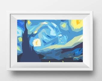 Starry Night low poly minimalist art Vincent Van Gogh unique style shapes