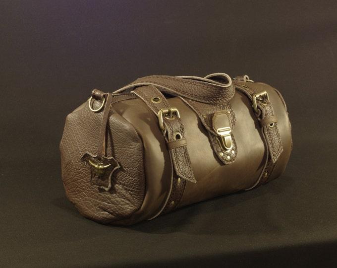travel bag, duffel bag, dark brown leather