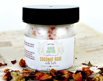 Sample, Coconut Rose Milk Bath - Coconut Bath, Rose Bath, Natural Bath, Milk Bath, Luxury Bath Soak, Natural Skin Care, Bath Soak -