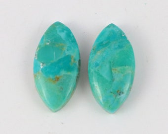 1 Pair, Turquoise Mohave Cabochon, Natural Turquoise Mohave Gemstone, Marquise Shape,Approx 20x10 mm, For Jewelry Making Pair Cabochon,TM642