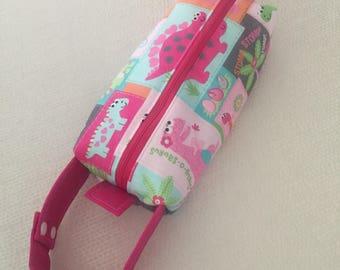 Baby Wipes Bag, Baby Girl Bag, Girl Dinosaur Baby Wipes Bag, Dinosaur Bag, Bag
