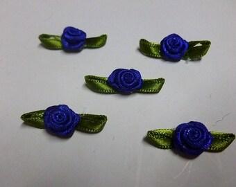 small Royal blue satin roses