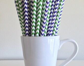 Purple and Green Chevron Paper Straws Party Supplies Party Decor Bar Cart Cake Pop Sticks Mason Jar Straws Graduation