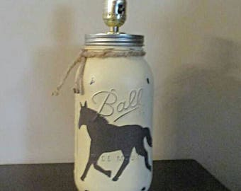 Horse lamp, western table lamp, mason jar lamp, horse rustic lamp. Horse decor, ranch decor, mason jar table lamp