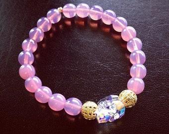 Swarovski bracelet. Crystal Skull and Pink Beaded Bracelet. Crystal skull jewelry. Pink bracelet. Skull bracelet.