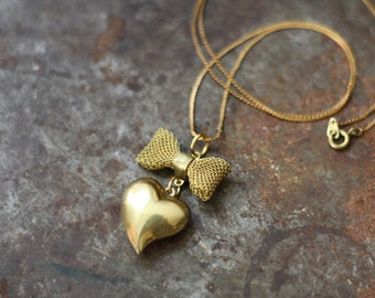 Vintage Brass Heart and Bow Necklace
