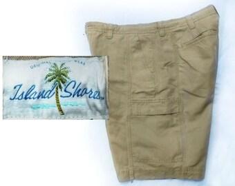 size 38 shorts men - vintage men's shorts, men's cargo shorts, casual shorts, men's brown shorts, Island Shores shorts men -  # 52