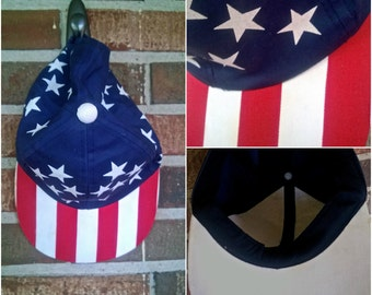 Red White and Blue Stars and Stripes Americana Baseball/Trucker Hat