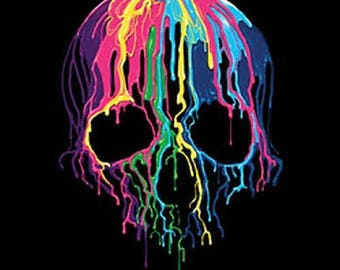 Melting Skull Tank Top Blacklight Neon Choose Size and Color 19423NBT2