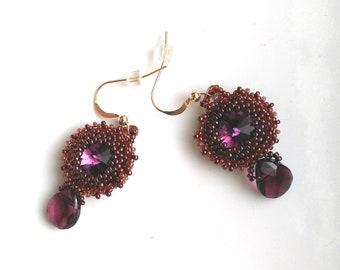 Beadwoven Dangle Swarowski Earrings, Purple/ Garnet Earring, Gold Filled Faceted Crystal Earrings - January February Birthday Gift for her