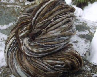 Handspun yarn, handpainted wool yarn worsted thick and thin  multiple skeins available-BARRED OWL