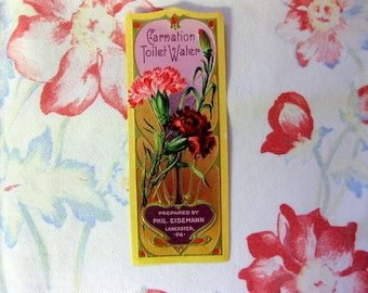 Vintage Gorgeous Gilded Floral, Carnation Toilet Water Perfume Bottle Label, Two Labels