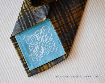 Monogram Groom Tie Patch • Something Blue Wedding Label • Personalized Suit or Tie Label • Cotton Anniversary Gift • 2nd Anniversary Gift