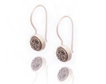 Druzy Drop Earrings - Silver Druzy in Sterling Silver - Druzy / Drusy Quartz Earring - Sterling Silver - Round Druzy Drop Earring