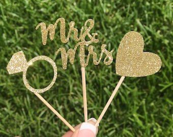 24 Wedding Cupcake Toppers