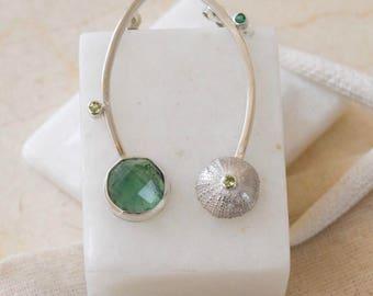 Handmade asymmetrical pendulum earrings
