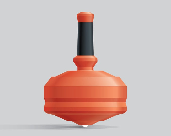 Leap 25G-1 Orange spin top with single ceramic tip and integrated rubber grip