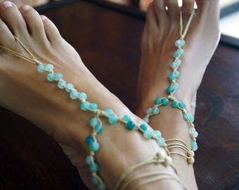 Aquamarine Stone Barefoot Sandals, Gemstone Barefoot Sandals, Beach Wedding Shoes, Boho Anklets, 1 Pair