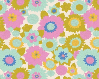 Boogie FLower Dove White - LemonTree - Tilda Fabric 100% Quilters Cotton - Yards, Half Yards & Fat Quarters