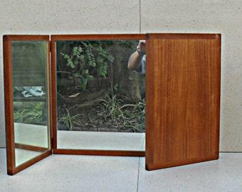 Danish modern tri fold teak mirror Denmark 1960s  Aksel Kjersgaard, Odder.