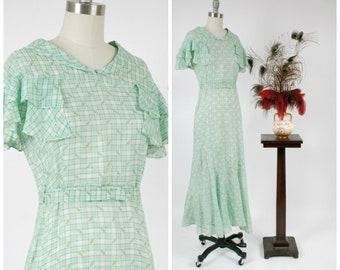 Vintage 1930s Dress - Summer 2018 Lookbook - Lovely Spring Green 30s Lightweight Cotton Bias Cut Summer Gown with Fluttering Ruffles