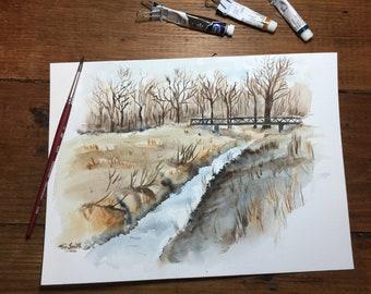 Watercolor small creek
