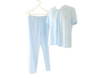 Pajama Set Pastel Blue High Waisted Size Medium