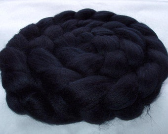 BLACK merino wool roving, roving wool, spinning fiber, felting wool, wool roving, 20 micron, black doll hair, wool hair, dreads, 3.5oz, 100g