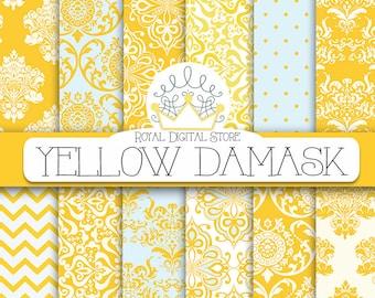 "Damask digital paper: ""YELLOW DAMASK"" with damask background, damask scrapbook paper, damask pattern, digital damask for scrapbooking, cards"