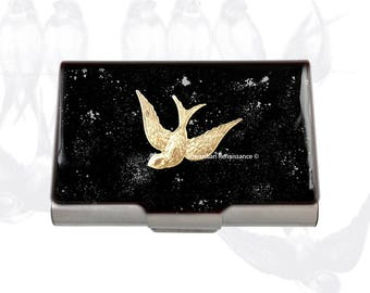 Swallow Large Business Card Case Inlaid in Hand Painted Enamel in Black Enamel with Silver Splash Design with Personalized Options