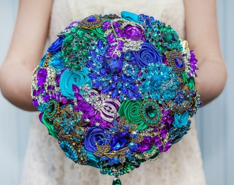 Brooch bouquet. Purple, Blue and Turquoise wedding brooch bouquet, Jeweled Bouquet. Made upon request