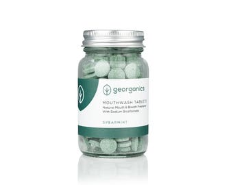 Georganics Natural Mouthwash Tablets for Mouth & Breath Freshening - Spearmint