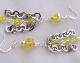 Yellow Earrings Lemon Yellow Earrings Round Silver Chain Dangle Earrings