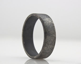 Wide Sterling Silver Ring - Mens Wedding Band  - Rough Finish Guys Ring - Oxidized Dark - 6 mm - Simple and Modern Jewelry - Unisex